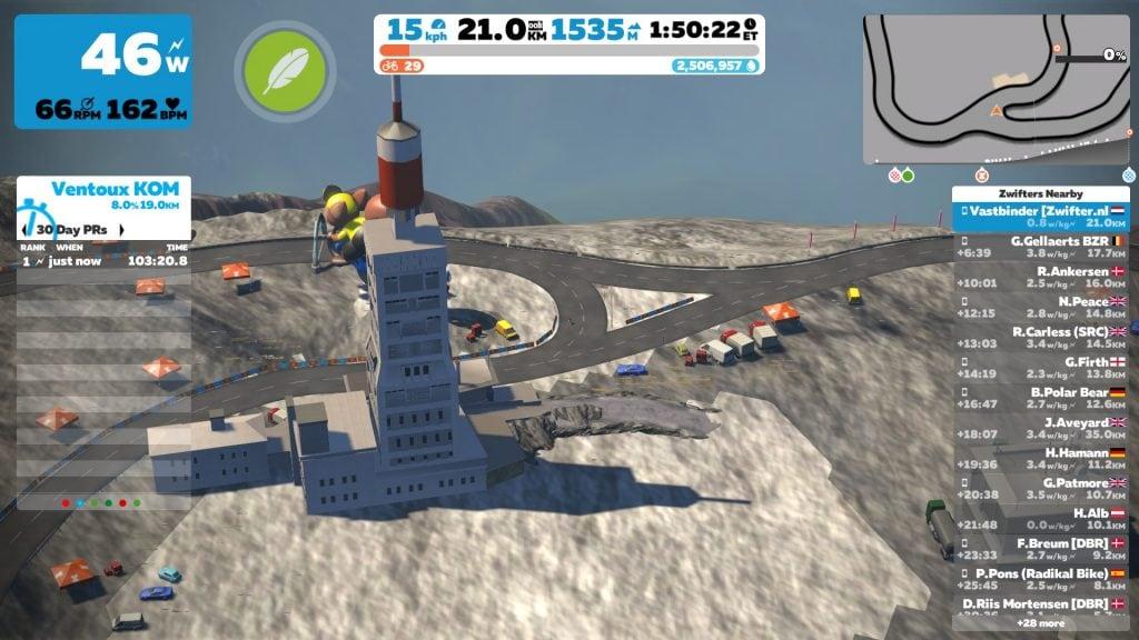 Zwift Ventoux Top Frankrijk