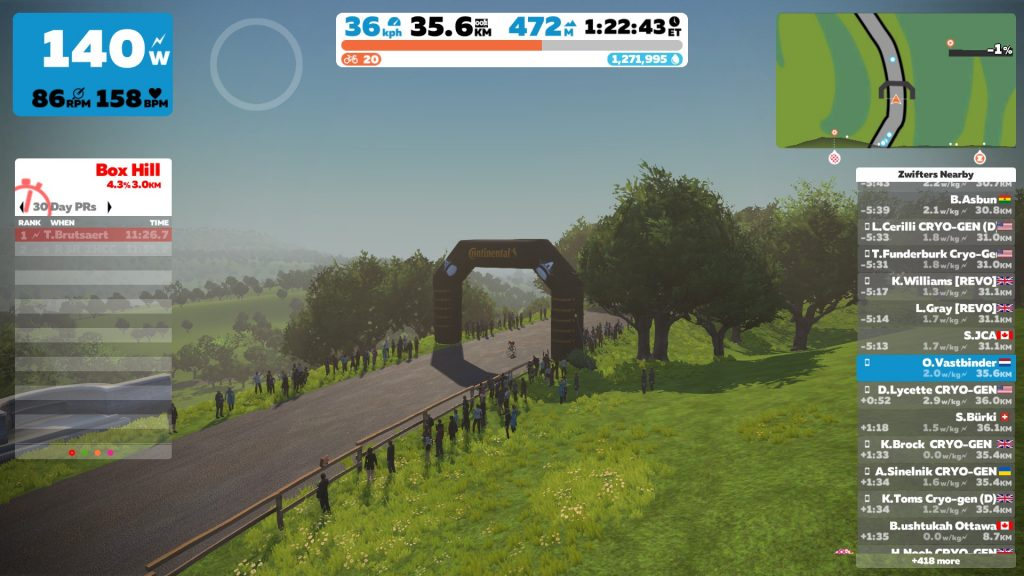 Zwift Box Hill top
